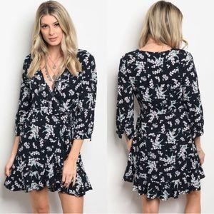 V-Neck Floral Ruffle Dress